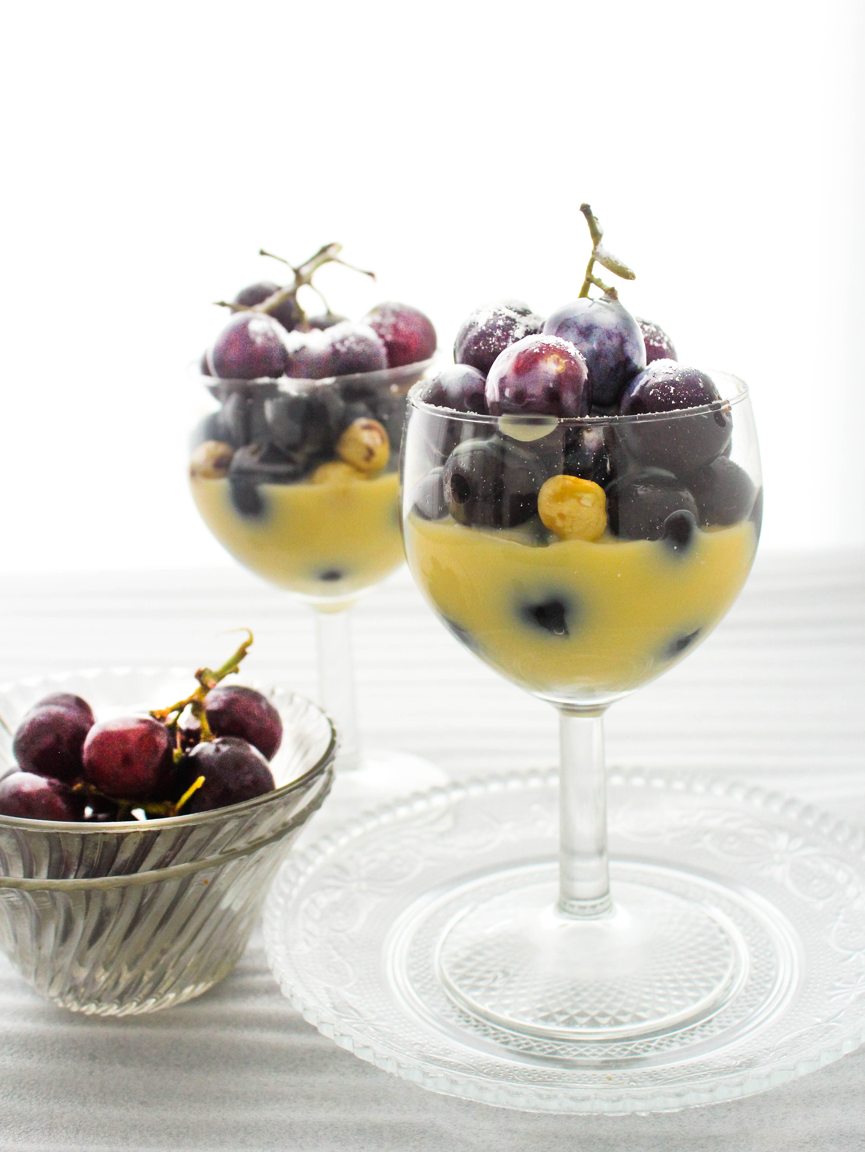 Grapes with Orange Creme Anglaise (Custard) and Hazelnuts