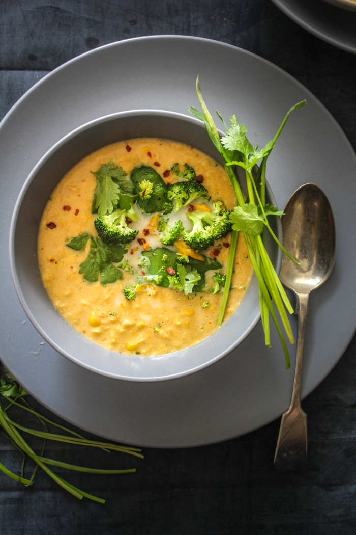 Spicy Thai Corn Soup with Greens - Sugar et al