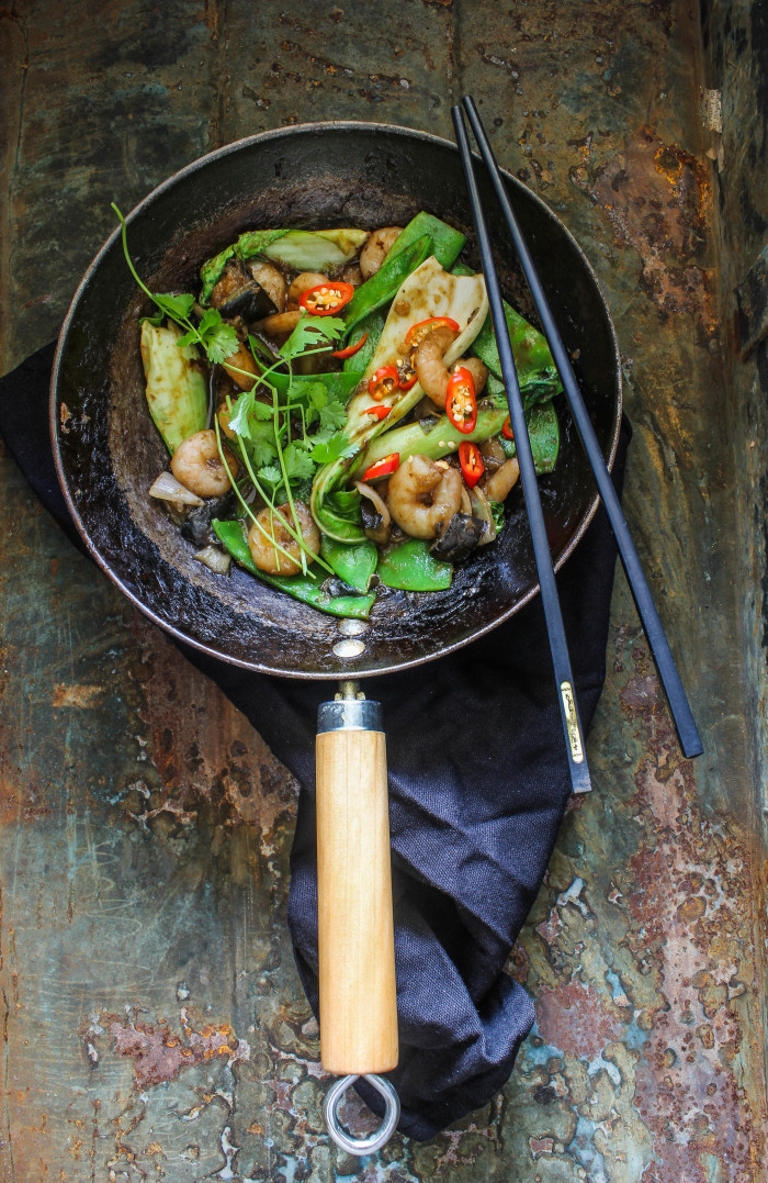 prawn and eggplant hoisin stir-fry