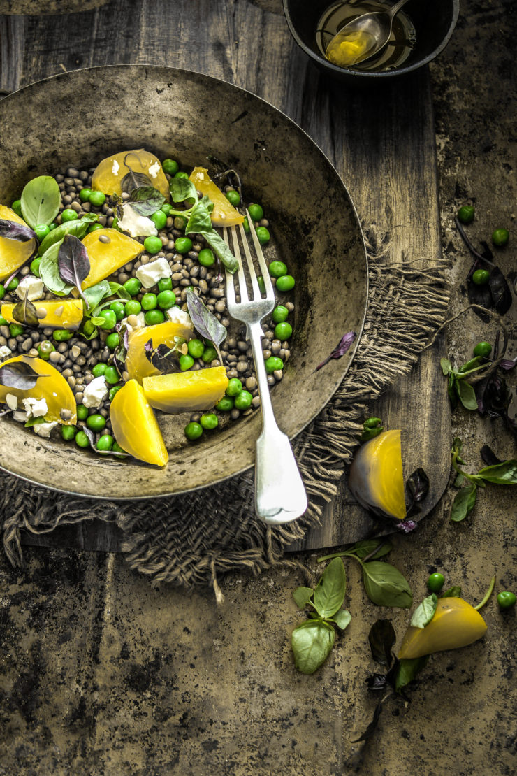 warm lentil salad with golden beets and green peas