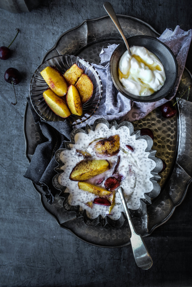 chia seed pudding with maple yogurt and cinnamon roasted nectarines