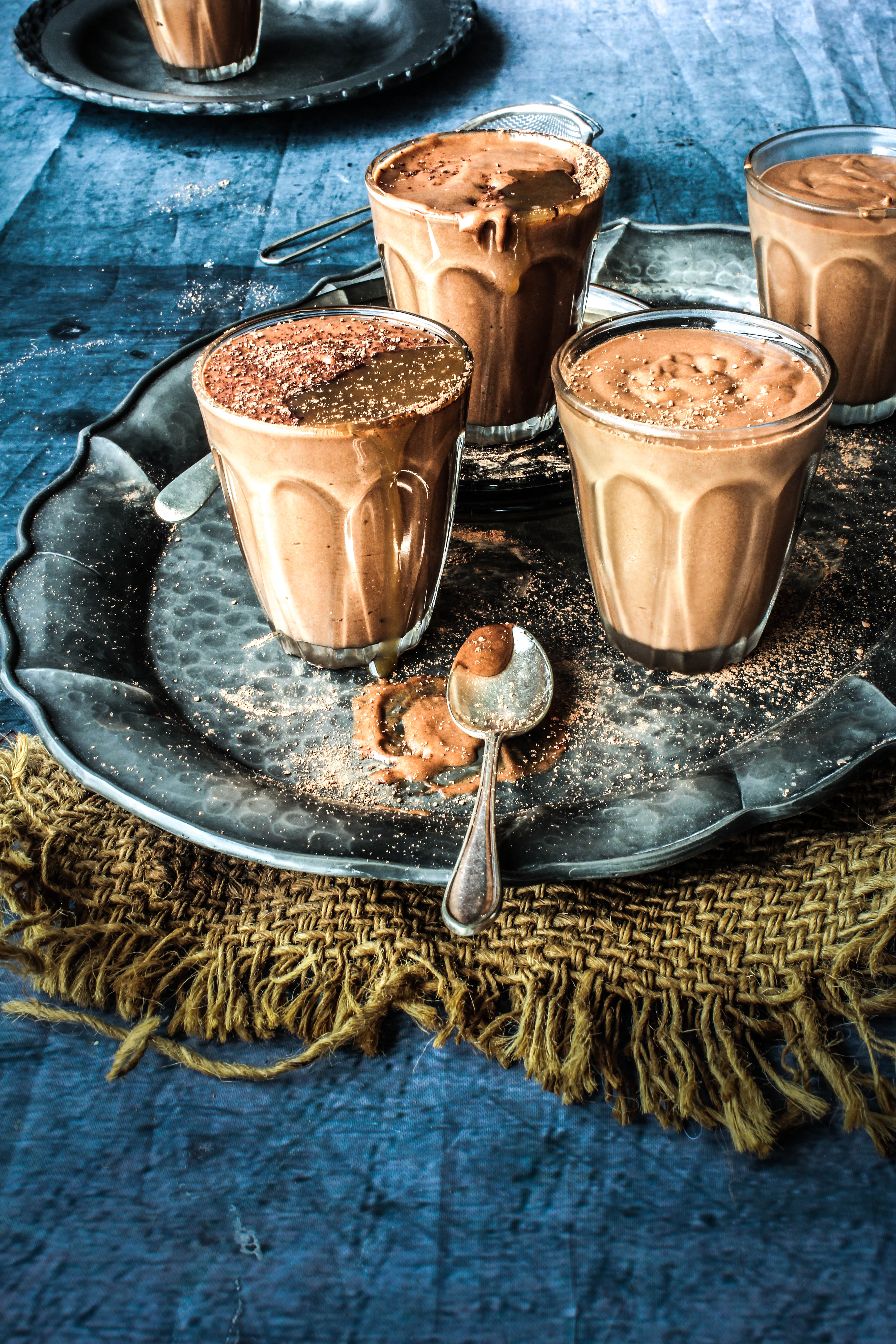 Chocolate Kahlua Mousse with Salted Caramel Sauce