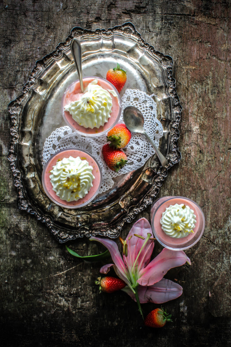 strawberry panna cotta with earl grey