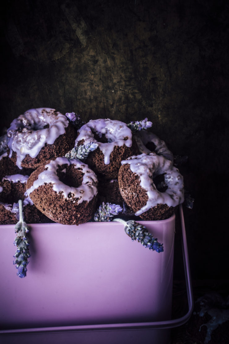 lavender cake minis with a dark chocolate base