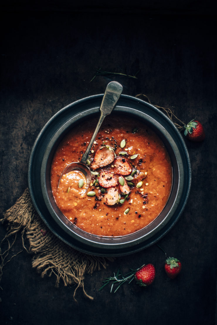 Roasted red pepper and strawberry soup