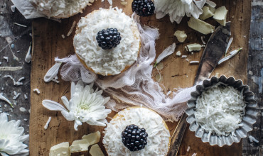 Coconut Cake Minis With Blackberries And White Chocolate