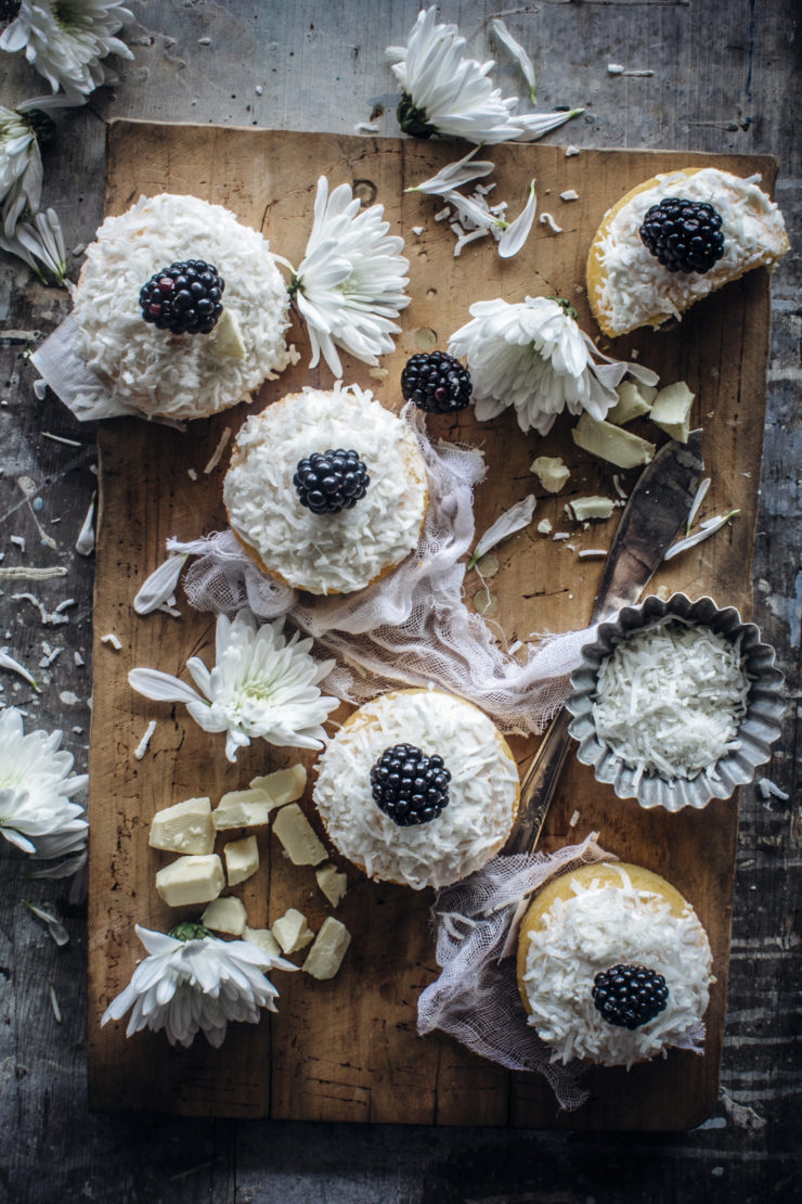 coconut cake with blackberries and white chocolate