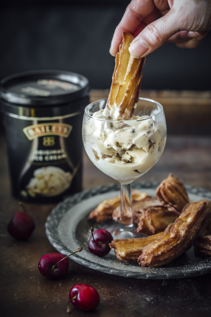 Churro Bowls with Baileys Ice Cream