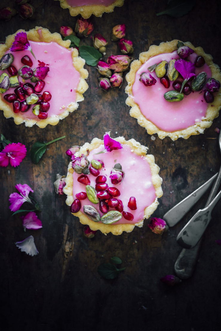 Rosewater Tartlets with pomegranates and pistachios